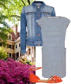 Do: my black stripe dress + blue button down...just need some colorful shoes! :)