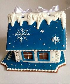 Gingerbread cottage in blue Gingerbread House Designs, Christmas Gingerbread House, Gingerbread Cake, Gingerbread Houses, Christmas Mantles, Christmas Ornaments, Christmas Goodies, Christmas Treats, Christmas Baking