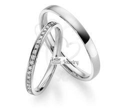 Matching Wedding Bands,His & Hers Wedding Rings Set,10K Gold Diamond Wedding Band,Couple Wedding Bands,Womens Wedding Band,Mens Wedding Ring by TallieJewelry on Etsy