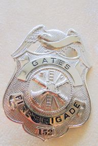 Badge Fire Brigade Gates Silver 152  Vintage Fire Department, $38.5