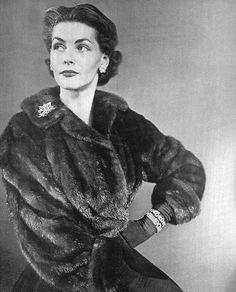 Georgia Hamilton in mink, photo by Genevieve Naylor 1948