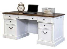 online shopping for Martin Furniture Durham Double Pedestal Executive Desk, White from top store. See new offer for Martin Furniture Durham Double Pedestal Executive Desk, White White Desk Office, White Desks, Home Office Desks, Office Decor, Office Table, Office Ideas, Martin Furniture, White Furniture, Refinished Furniture