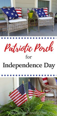 Patriotic front porch for Independence day. #frontporch #4thofjulyfrontporch, #4thofJuly 4th of July, red white and blue, diyDesignFanatic.com