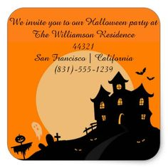 Haunted Castle Halloween Invitation Square Sticker - craft supplies diy custom design supply special