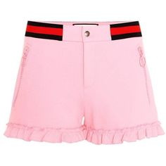 Gucci Ruffled Twill Shorts ($590) ❤ liked on Polyvore featuring shorts, pink, flounce shorts, pink shorts, frilly shorts, gucci and gucci shorts