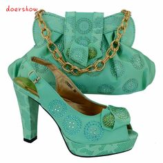 Free Shipping,Fashion Woman Ltalian Matching Shoes And Bags Set,Party Shoe And Bag Set With Party Dress.water green Color!VL1-24