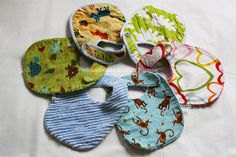"""Neat idea - sew layers of muslin and flannel together then slash to make a """"chenille"""" type fabric baking for the bib."""