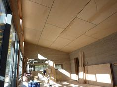 Not plygroove, but negative detail all round. Plywood ceiling ideas...