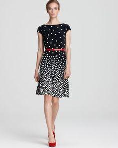 Anne Klein Dress Graduated Polka Dot Swing Dress