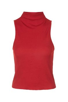 PETITE High Neck Ribbed Funnel Neck Top - Sale & Offers- Topshop