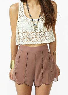 Lace crop top, nude scalloped shorts