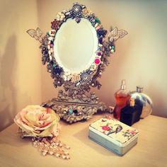 Vintage Mirror with vintage costume jewellery