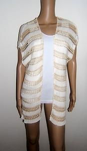 White House Black Market L Open Knit Crotchet Sweater Shrug Stripe Striped