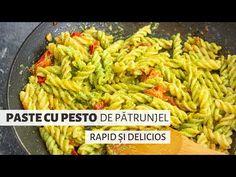 Paste cu pesto de pătrunjel, o rețetă super-simplă și ultra-rapidă, dar atât de plină de arome! Pur și simplu, delicios! :) Pesto, Gnocchi, Green Beans, Chicken, Vegetables, Food, Veggie Food, Vegetable Recipes, Meals