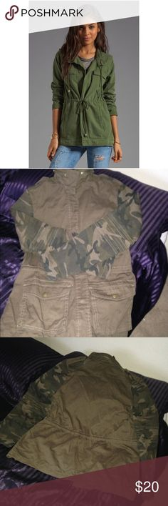 🌧☔️ Ladies Nice and Cute camo army jacket.EUC Two pockets, button down, drawstring at waist and zipper around collar. Brown with army green. Pic 4 shows possible fitting purpose only, pic 1,2,3, item for sale. Jackets & Coats Utility Jackets
