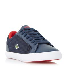 Lacoste Lerond mesh detail leather trainer, Navy
