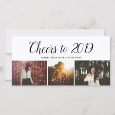 new years cards cheers to 2019 script three photo collage modern holiday card