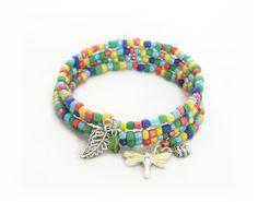 Bright Beaded Wrap Bracelet Gift for Her Mothers by Lottieoflondon
