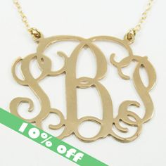 """10 OFF  Monogram Necklace 1.25"""" Personalized by NamesAndMonograms, $47.00"""