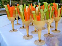 Elegant way to serve vegetables in wine glasses  Our Suburban Farm: Wine Tasting Themed Welcome Dinner