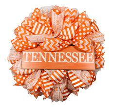 """Tennessee VOLS Orange /& White Embroidered Flag Patch 3/"""" x 2/"""" with Hook Fastener"""