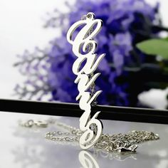 Solid White Gold Vertical Carrie Style Name Necklace