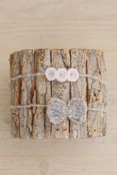 SET Winter Christmas Knit Newborn Light Grey Wrap & 2 Crochet Bow and White Flowers Tiebacks / Matching Baby Set / Newborn Photography Props by SoftButterflyKiss on Etsy