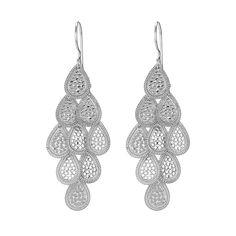 Anna Beck: Earrings: Large Wire Rimmed Teardrop Chandelier Earrings - Silver