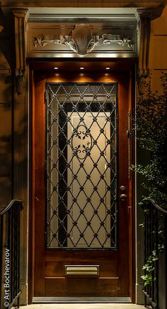 An elegant door in Upper East Side, New York City.