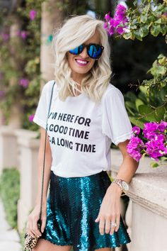 Here for a good time tee + Sequin Shorts - Mckenna Bleu