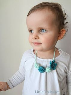 Crochet a Beaded Necklace. Whatcha think, @Kathryn Saltz? A few of these are really cute for little girls and maybe big ones, too.