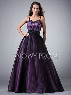 Black Purple Long Lace Tulle Sweetheart A-Line With Straps Prom Dress - US$ 164.99 - Style P1989 - Snowy Prom