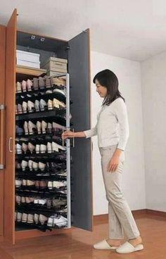 closet shoe rack design - Home Decor Master Closet, Closet Bedroom, Closet Space, Shoe Closet, Diy Bedroom, Closet Wall, Smart Closet, Hidden Closet, Shoe Wall