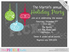 Christmas Ornaments Personalized Party Invitation-personalized invitation, photo card, photo invitation, digital, party invitation, birthday, shower, announcement, printable, print, diy,