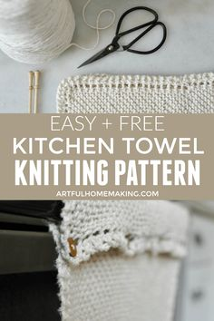 This kitchen towel knitting pattern is based off of the grandmother's favorite dishcloth pattern. It's easy to knit and can be used as a table runner or a dish towel. Knitted Dishcloth Patterns Free, Beginner Knitting Patterns, Knitted Washcloths, Crochet Dishcloths, Knitting Projects, Knit Kitchen Towel Pattern, Crochet Towel, Knit Crochet, Kitchen Towels