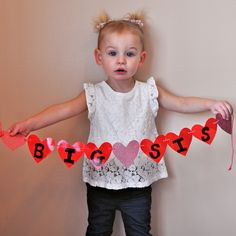 Big sister banner (big brother) baby announcement, Valentine's Day.