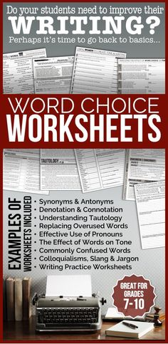 Sometimes when our middle/high school students are struggling with writing, we have to go back to basics: word choice. These 22 worksheets will help them hone their writing skills.