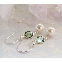 Emerald Crystal Earrings, White Pearl Earrings, Swarovski Elements,... ($21) via Polyvore featuring jewelry, earrings, sterling silver jewelry, pearl jewellery, sterling silver crystal jewelry, sterling silver jewellery and pearl earrings jewellery