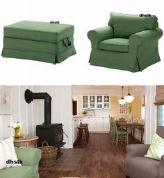 IKEA-EKTORP-Armchair-and-Bromma-Footstool-Ottoman-SLIPCOVERS-Covers-SVANBY-GREEN