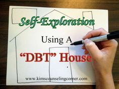 Self-Exploration Using a DBT House. Awesome site for children and teen mental health counseling. Group Therapy Activities, Counseling Activities, School Counseling, Fun Activities, Group Counseling, Therapy Worksheets, Group Activities For Teens, Cbt Worksheets, Activity Ideas
