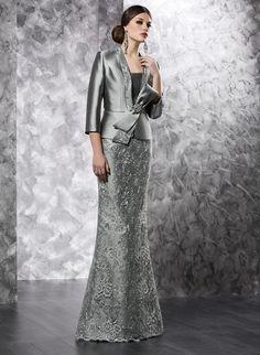 Cinza Longo Lace Applique Beading Sereia Mãe Do Noivo da Noiva Vestidos Com Jacket Chão Mãe Das Noivas Vestidos M39