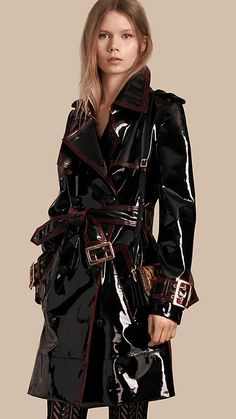 Black Unlined Patent Leather Trench Coat - Image 1