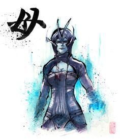 PRINT Mass Effect Matriarch Benezia Japanese Calligraphy Mother Mass Effect Art, Mass Effect Universe, Sumi E Painting, Japanese Calligraphy, Calligraphy Art, Sumi Ink, Dragon Age, Concept Art, Sci Fi