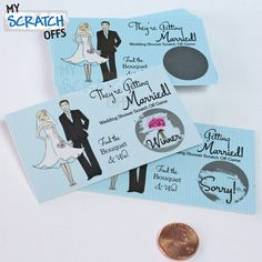 Scratch Off Game Card Light Blue Pinstriped Bridal Shower Game Wedding Engagement Ticket Favor Scratch-Off