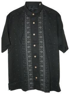 Tommy Bahama Tiki Terrace Silk Camp Shirt (Color: Black, Size L): Clothing http://tommytyme.com/