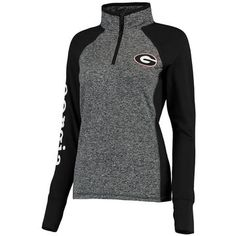 Georgia Bulldogs Women's Finalist Quarter-Zip Pullover Jacket - Gray/Black