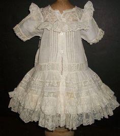 Beautiful Antique Batiste Doll Dress, French / German from joysofyesterday on Ruby Lane
