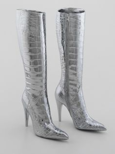 Prada Boots 2003 by Sylvie Fleury Sexy Boots, Tall Boots, Sylvie Fleury, Crocodile, Silver Boots, High Knees, Walk This Way, Golden Girls, Fashion Boots