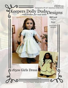 """KDD01 """"1850s Girl's Dress""""- An Original KeepersDollyDuds Design,18"""" Doll Clothes Fits American Girl"""