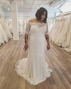 This pretty off the shoulder lace wedding gown has elbow legnth sleeves. If you are shopping for #plussizeweddingdresses this is a nice cut to consider. We make custom dresses. But we can also make #replicas of any couture designer dress too that will look the same in style but cost less than the couture original. Get pricing on any design you love from the internet and obtain more info on our simple process when you email us directly. DariusCordell.com